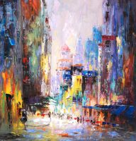 Город. На летних улицах (N1). Картина К.Виверс