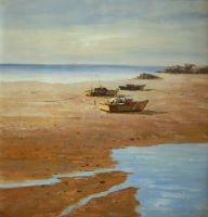 Отлив. Океан. Рыбачьи  лодки на берегу. Картина Хосе Родригеса