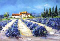 Лавандовые поля. Синий. Картина Хосе Родригеса