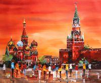 Red Square. Red sunset (Красная площадь. Красный закат). Картина Хосе Родригеса
