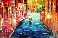 Каналы Венеции. Гондольер. Картина Хосе Родригеса