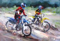 Мотогонки. На спуске. Картина Хосе Родригеса