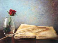 Натюрморт с алой розой и книгой