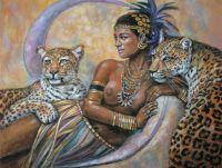 Девушка с леопардами