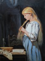 Девочка, заплетающая косу