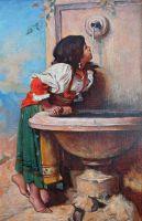 Девочка у фонтана