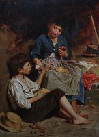 Двое детей с хлебом и яблоками на обед