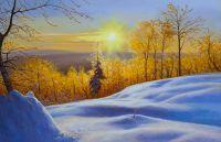 """Зимний пейзаж маслом """"Cнег, солнце, иней и мороз..."""""""