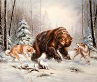Охота на медведя.худ.С.Минаев