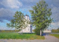 Благовещенская церковь в г. Мытищи. Ветреный день