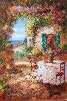 """Средиземноморский пейзаж маслом """"Под сенью цветов N3"""""""