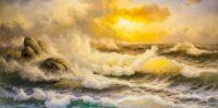 """Морской пейзаж маслом """"Волны. Закат над морем"""""""