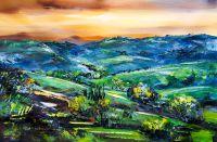 Средиземноморский пейзаж Тосканские просторы. Вечер
