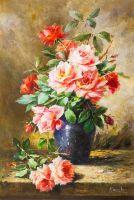 """Букет роз в синей вазе"""