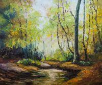 Пейзаж в осенних тонах. Лесной ручей