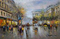 "Пейзаж Парижа Антуана Бланшара ""Boulevard de La Madeleine"" (копия Кристины Виверс)"