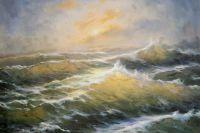 Вечернее солнце в бурной воде N1
