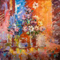 Цветочная абстракция в розово-красной тонах