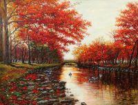 Парковый пруд на закате