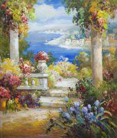Средиземноморский пейзаж с синими цветами