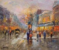 """Пейзаж Антуана Бланшар """"Le Boulevard Paris"""" (Парижские бульвары, вольная копия Кристины Виверс)"""