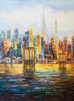 Нью-Йорк. Вид на Манхэттен и Бруклинский мост