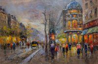 Пейзаж Парижа Антуана Бланшара Большие бульвары, Театр дю Водевиль копия К. Виверс