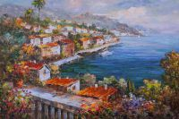 Вид с балкона на средиземноморский городок