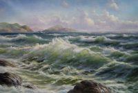 """Морской пейзаж маслом """"Бурное море весной N2"""""""
