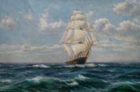 """Морской пейзаж маслом """"Корабль. К родным берегам"""""""