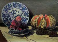 Натюрморт с дыней, 1872 год, Клод Моне (вольная копия Савелия Камского)