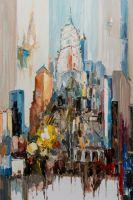 """Пейзаж городской маслом """"Небоскребы Нью-Йорка N1"""" (вольная копия картины Джозефа Котэ)"""