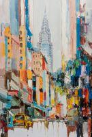 """Пейзаж городской маслом """"Небоскребы Нью-Йорка N2"""" (вольная копия картины Джозефа Котэ)"""
