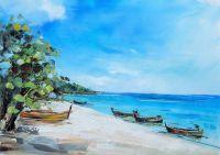 """Морской пейзаж маслом """"Вспоминая тропический Рай"""""""