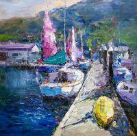 """Картина маслом """"Пейзаж с лодкой"""""""