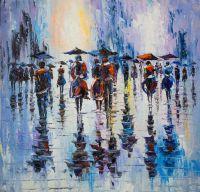 """Пейзаж """"В городской суете. Под дождем"""""""