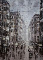 """Картина маслом """"Город в монохроме. От черного к белому. Версия VC"""""""