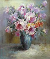Букет. Розы в синей вазе