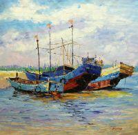 """Картина маслом """"Лодки у берега"""""""