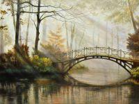 "Осенний пейзаж маслом ""Утром в парке"""
