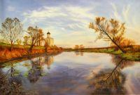 """Осенний пейзаж маслом """"Церковь Покрова на Нерли в Покров день"""""""