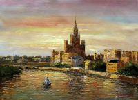 "Картина маслом ""Москва-река. Эффект заката"""