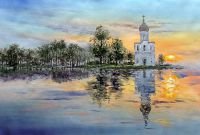 """Осенний пейзаж маслом """"Церковь Покрова на Нерли. Вечер"""""""