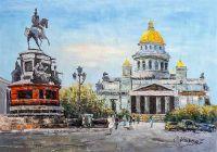 """Городской пейзаж """"Санкт-Петербург. Исаакиевская площадь"""""""