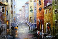 """Пейзаж городской маслом """"Венеция. Гондолы и мосты"""""""