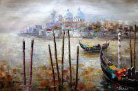 """Пейзаж городской маслом """"Венеция. Гондолы на фоне Санта-Мария делла Салюте"""""""