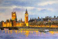 """Городской пейзаж """"Лондон. Вестминстерский дворец с Темзы"""""""