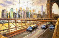 """Пейзаж городской маслом """"Вид на Нью-Йорк через Бруклинский мост"""""""
