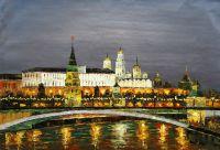 """Пейзаж маслом """"Москва. Ночной вид на Кремль"""""""