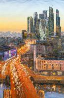 "Пейзаж маслом ""Вид на Москва-Сити через Бородинский мост"""